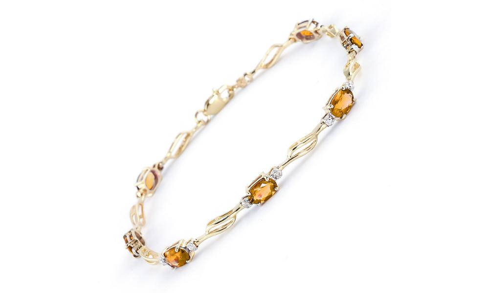 Citrine & Diamond Classic Tennis Bracelet in 9ct Gold