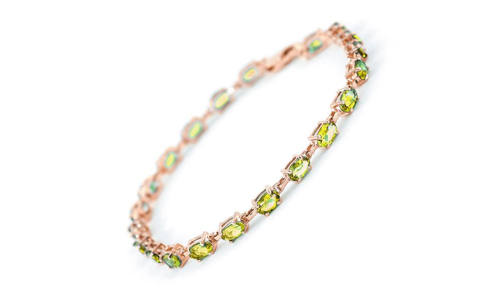 Peridot Infinite Tennis Bracelet 5.5 ctw in 9ct Rose Gold