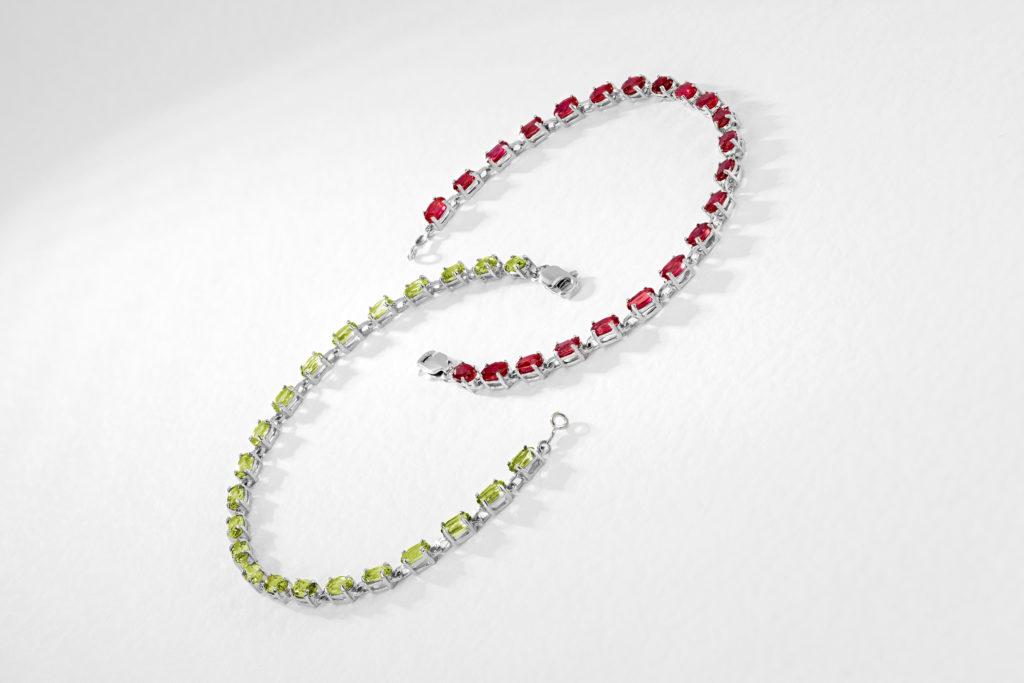 Ruby & Peridot Tennis Bracelets by QP Jewellers