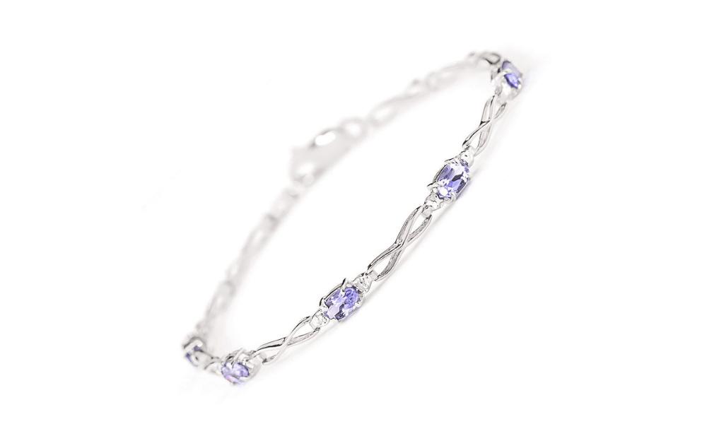 Tanzanite & Diamond Evert Tennis Bracelet in 9ct White Gold