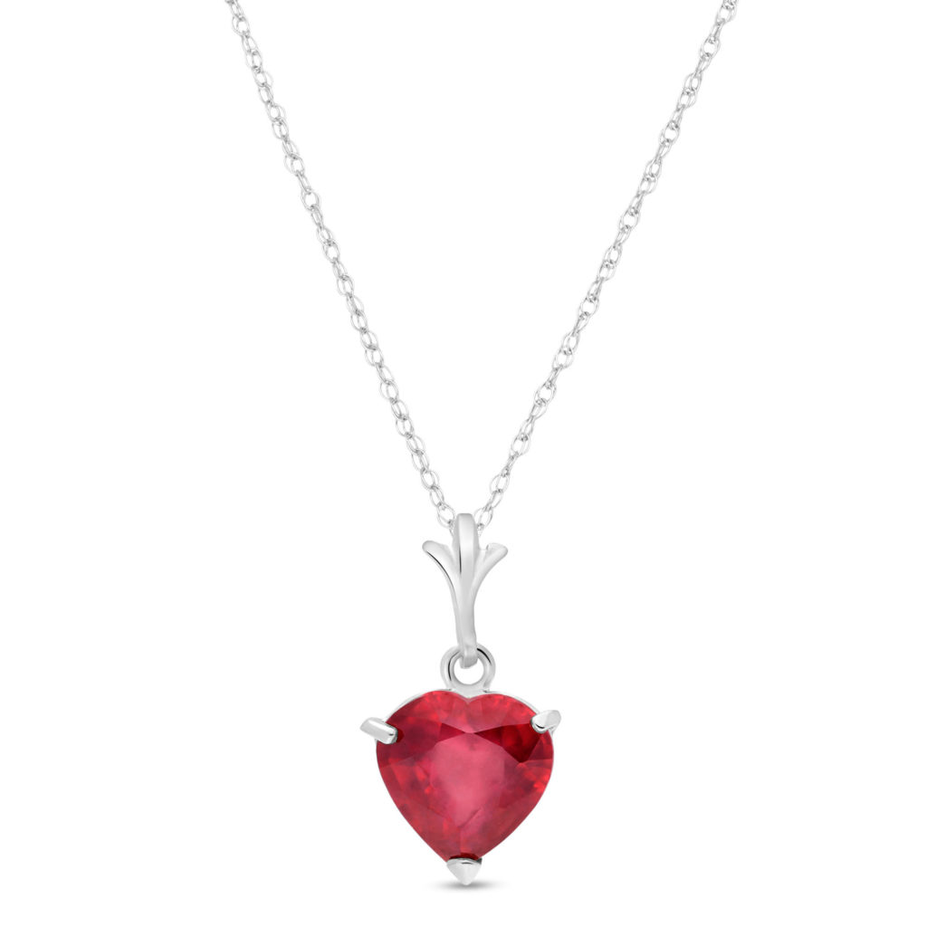 Heart Shaped Pendant Necklace in 9ct White Gold