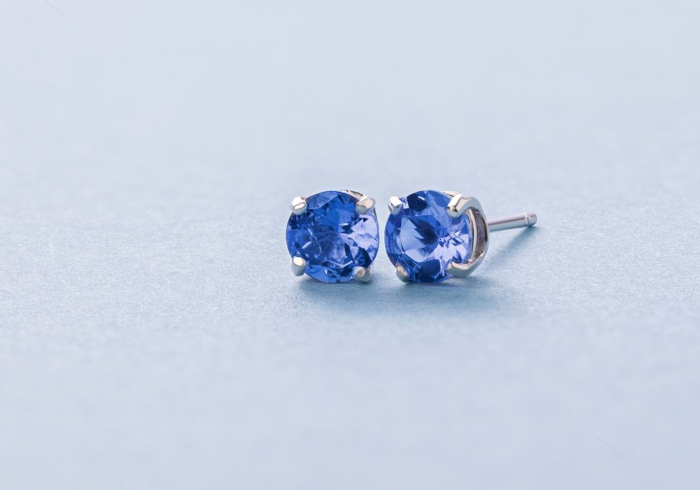 1989W - earrings - tanzanite - blue - birthstone